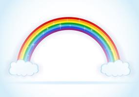 abstrato arco-íris com ilustração vetorial de nuvens vetor