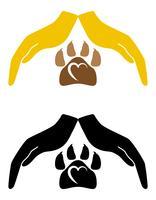conceito de proteção e amor de ilustração vetorial de animais