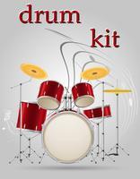 conjunto de tambores kit instrumentos musicais ilustração vetorial estoque vetor