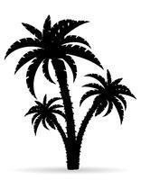 ilustração em vetor silhueta preta contorno de árvore de palma