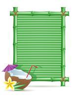 quadro de bambu e ilustração vetorial de coco vetor
