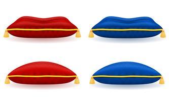 travesseiro de veludo azul vermelho com ilustração vetorial de corda e borlas de ouro