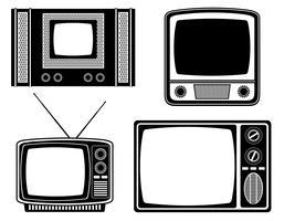 vetor de estoque retrô vintage tv ícone silhueta de contorno preto