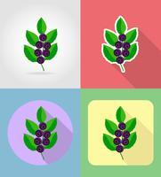 frutas mirtilos plano conjunto de ícones com a ilustração do vetor de sombra