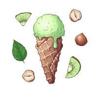 Conjunto de sorvete de nozes kiwi. Desenho à mão. Ilustração vetorial