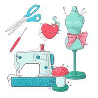 Conjunto de acessórios de manequim de costura. Desenho à mão. Ilustração vetorial