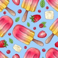 Framboesa de sorvete sem costura padrão. Ilustração vetorial