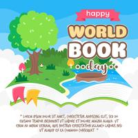 flutuante pop up livro de história com paisagens da natureza. ilustração do vetor de desenhos animados