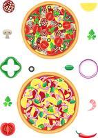 pizza e componentes ilustração vetorial vetor