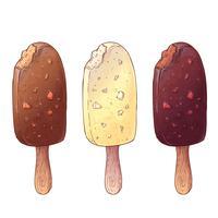 Um conjunto de três tipos de sorvete. Desenho à mão. Ilustração vetorial