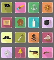 ilustração em vetor ícones plana pirata