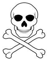 ilustração do vetor de caveira e ossos cruzados de pirata