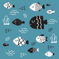 desenho de vetor de caráter de peixe