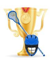 ilustração em vetor estoque ouro lacrosse cup vencedor