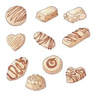 Definir bombons de chocolate. Vetorial, ilustração, mão, desenho