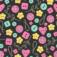 Flores de malha artesanal padrão sem emenda e elementos e acessórios para crochê e tricô