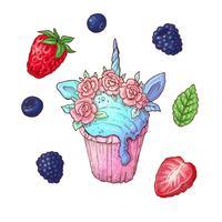 Um conjunto de bagas de cupcake. Ilustração vetorial Desenho à mão