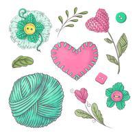 Um conjunto de roupas de malha clew agulhas de tricô. Desenho à mão. Ilustração vetorial