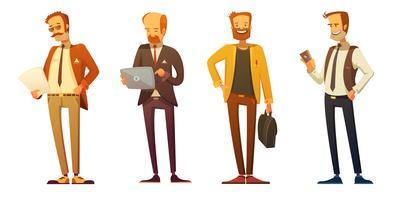 Conjunto de desenhos animados do empresário vestido código Retro vetor