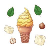 bananas dos desenhos animados e cones de sorvete conjunto, ilustração vetorial vetor