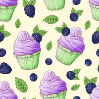 Mirtilos sem costura padrão cupcakes, desenho de mão de blackberry vetor