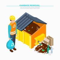Cartaz isométrico da remoção de lixo