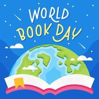 estale acima do livro do globo da terra com ilustração lisa do vetor do fundo estrelado. dia do livro do mundo.