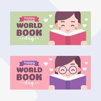 Miúdos bonitos que lêem um livro. Menino e menina. Ilustração em vetor dos desenhos animados do mundo livro dia