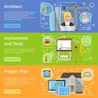 Banners horizontais planos de arquiteto