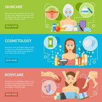 Banners horizontais de procedimentos de cosmetologia e Spa