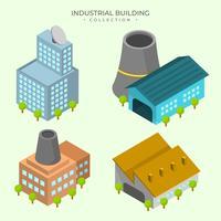 Coleção de vetores de edifício industrial de detalhe liso