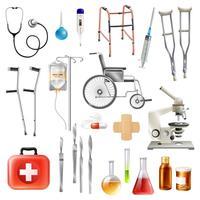 conjunto de ícones plana de acessórios médicos de saúde