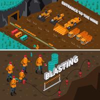 Banners isométrica de pessoas de mineiro vetor