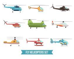 Conjunto de helicópteros voadores vetor