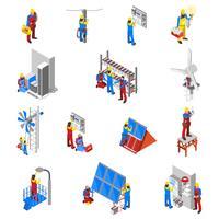 Conjunto de ícones de eletricista vetor