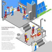 Composição isométrica de eletricista vetor