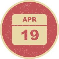 19 de abril Data em um calendário único dia