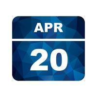 20 de abril Data em um calendário de dia único vetor