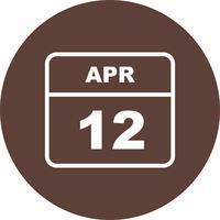 Data de 12 de abril em um calendário de dia único