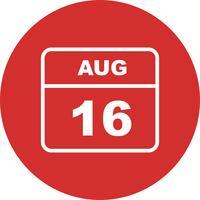 16 de agosto Data em um calendário único dia vetor