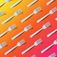 Fundo colorido altamente detalhado com garfos, ilustração vetorial