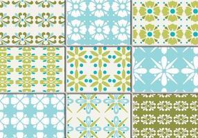 Nove padrões de vetores florais retros