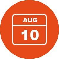 10 de agosto Data em um calendário de dia único vetor