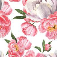 A peônia floresce a matéria têxtil botânica floral sem emenda do vintage da aquarela do teste padrão do watercolo, ilustração do vetor do cartão do convite da decoração do projeto da flor do aquarelle.