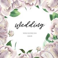 Aquarelle floral botânico de florescência do convite dos cartões de casamento da aguarela da flor da peônia branca. Projete o cartão do convite da decoração, salvar a data, vetor da ilustração do casamento.