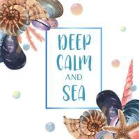 Viagem de verão mar vida marinha shell na praia, aquarelle isolado, ilustração vetorial Cor Coral 2019 na moda