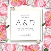 Aquarelle floral botânico de florescência do convite dos cartões de casamento da aquarela da flor da peônia cor-de-rosa. Projete o cartão do convite da decoração, salvar a data, vetor da ilustração do casamento.