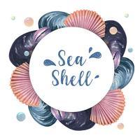 Grinalda de concha do mar vida marinha viagens de verão na praia, aquarelle isolado, design ilustração vetorial Cor Coral na moda vetor