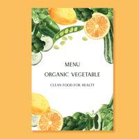 Cartaz em aquarela de legumes e frutas, fazenda de idéia de menu orgânico, design orgânico saudável, ilustração em vetor aquarelle