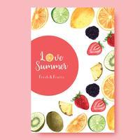 Temporada de verão frutas tropicais cartaz, maracujá, abacaxi, frutado fresco e saboroso, aquarela aquarelle, ilustração vetorial de aguarela